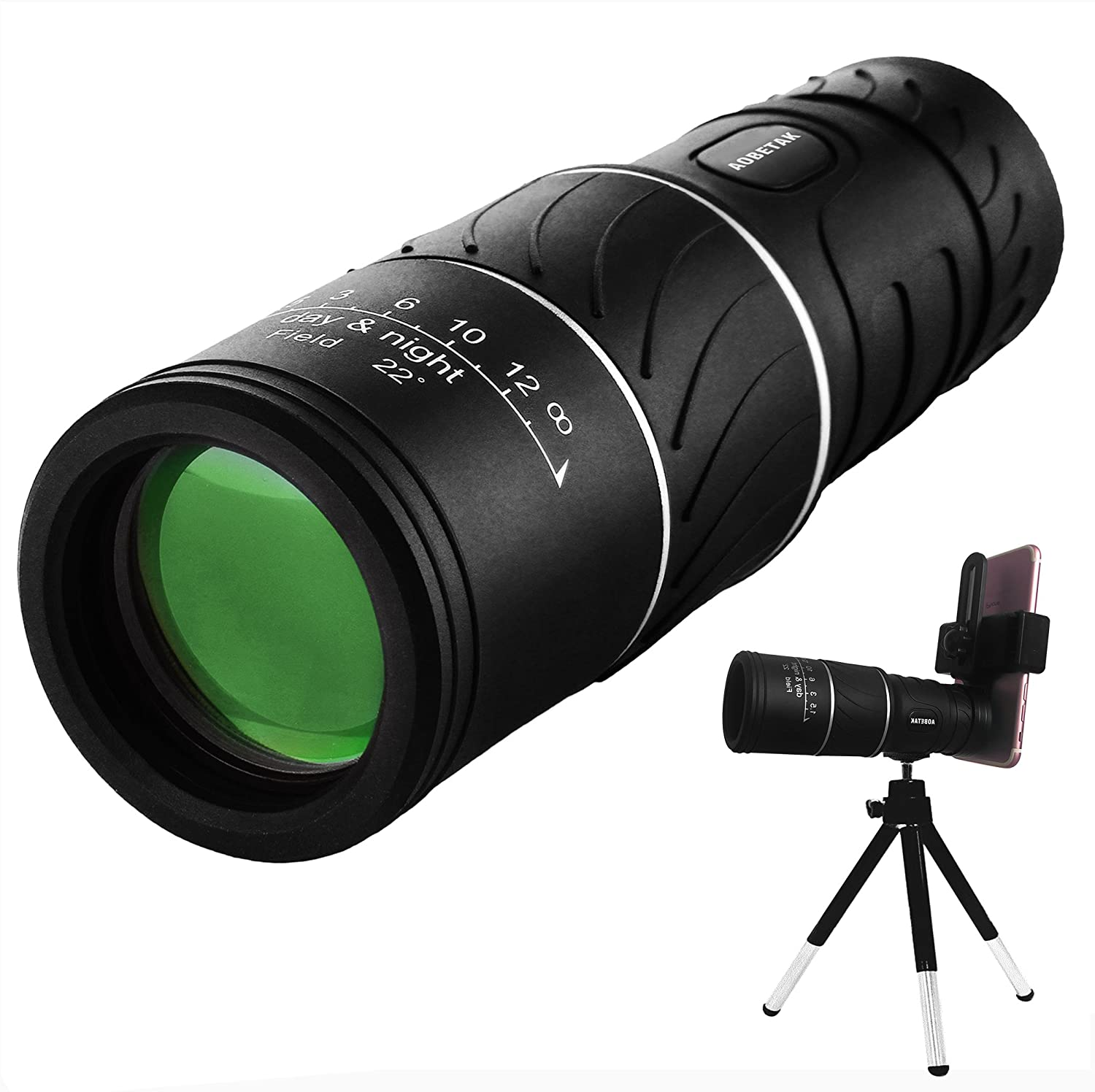 16x52 Monocular Telescope,AOBETAK High Power Spotting Scopes Equipped With Phone Adaptor and Tripod, Low Light Night Vision Binoculars or Adults Kids Bird Watching Traveling, Outdoors 98m/ 8000m