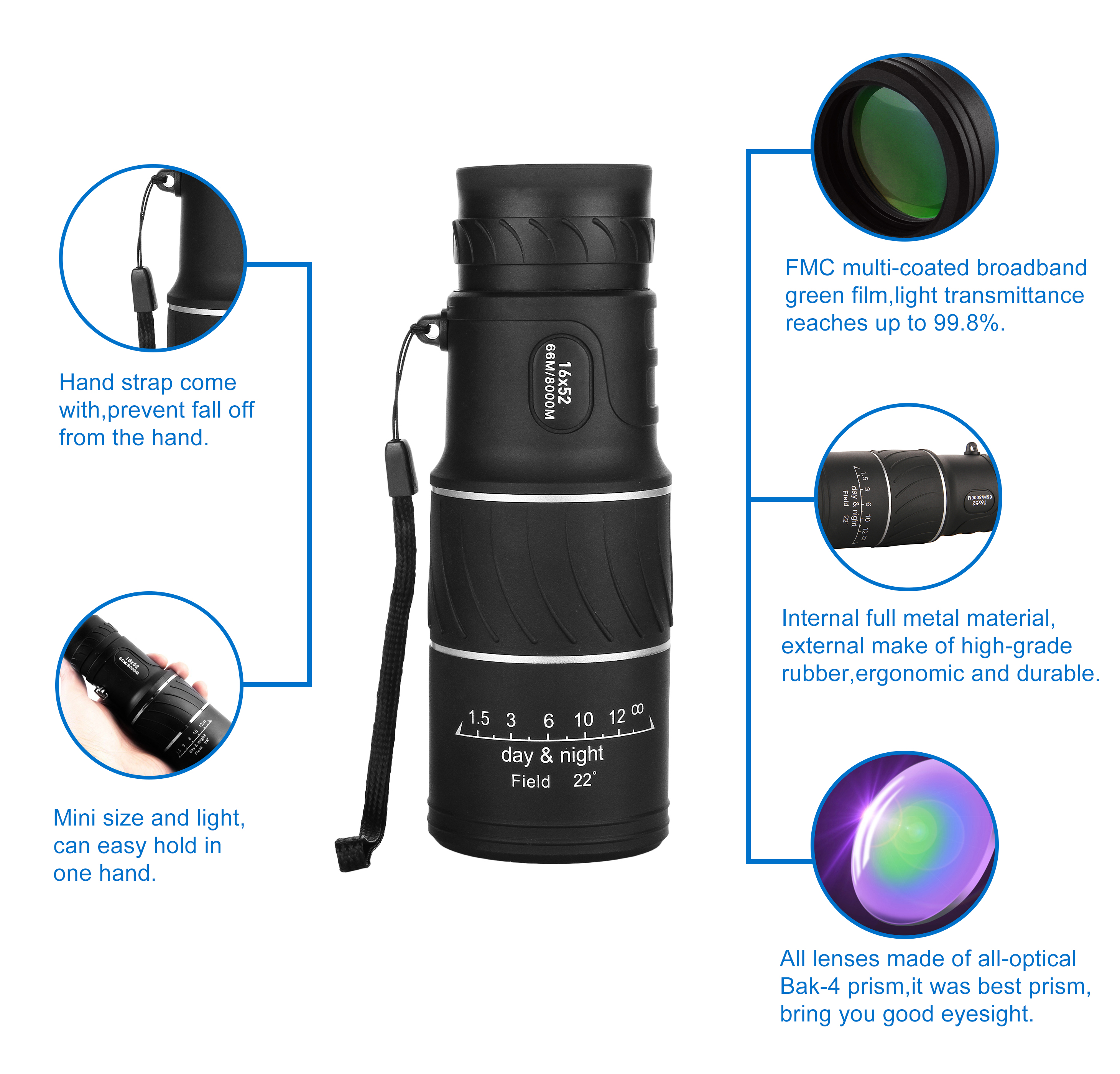 AOBETAK 16x52 Monocular Telescope, High Power Spotting Scopes Equipped With Phone Adaptor and Tripod, Low Light Night Vision Binoculars or Adults Kids Bird Watching Traveling, Outdoors 98m/ 8000m