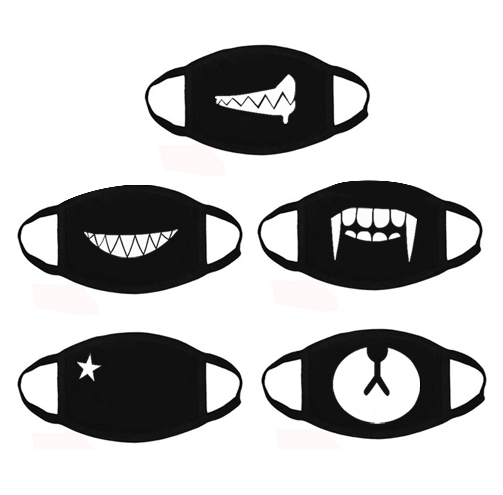 AOBETAK Cotton Face Mouth Mask, 5pcs Fashion Cute Bear Teeth Star Pattern Mouth Cover, Washable Earloop Mouth Masks Unisex Outdoor Sport Travel Cycling for Kids Adults Black
