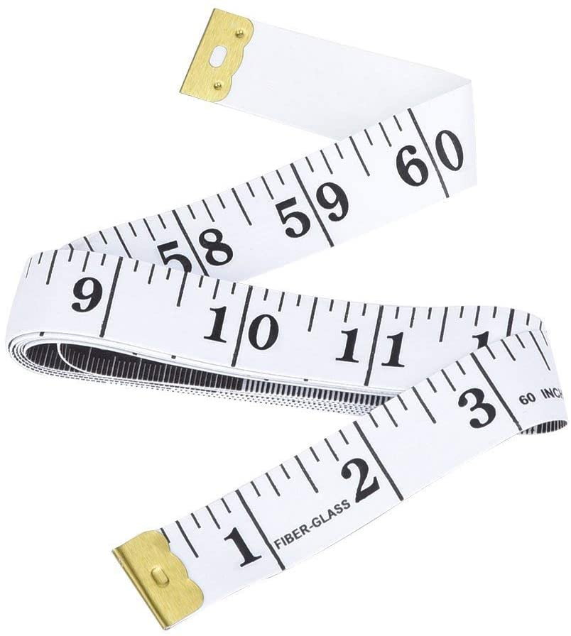 AOBETAK Soft Tape Measure, 150cm/60inch Fabric Tape Measure Sewing, Double Side Scale Tailor Measuring Tape for Clothes, Flexible Body Sewing Cloth Ruler with Accurate Measurements White