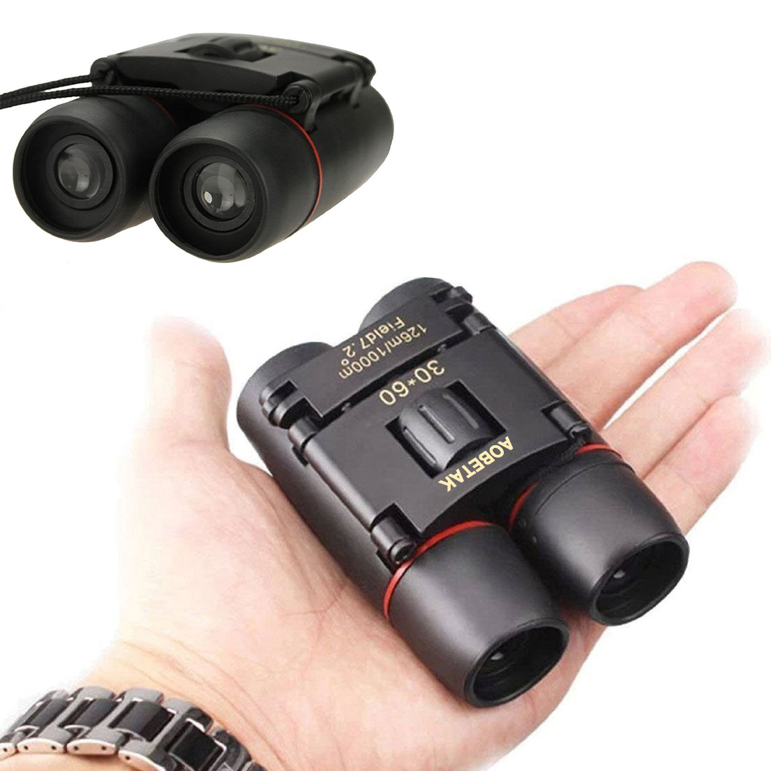 AOBETAK 30x60 Compact Small Binoculars Powerful Folding Telescope With Clean Cloth and Carry Case, Lightweight Pocket Binoculars For Adults, kids, Bird Watching, Astronomy