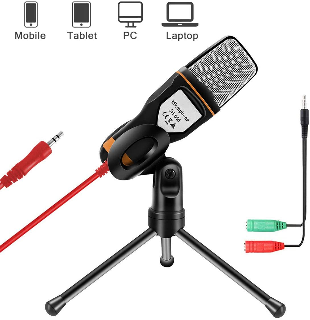 AOBETAK External PC Microphone with Stand for PC and Smartphone, Professional 3.5mm Jack Condenser Mic with 3.5mm Stereo Jack Splitter, for Loptop iPad Mac- Recorder Singing YouTube Skype, Black