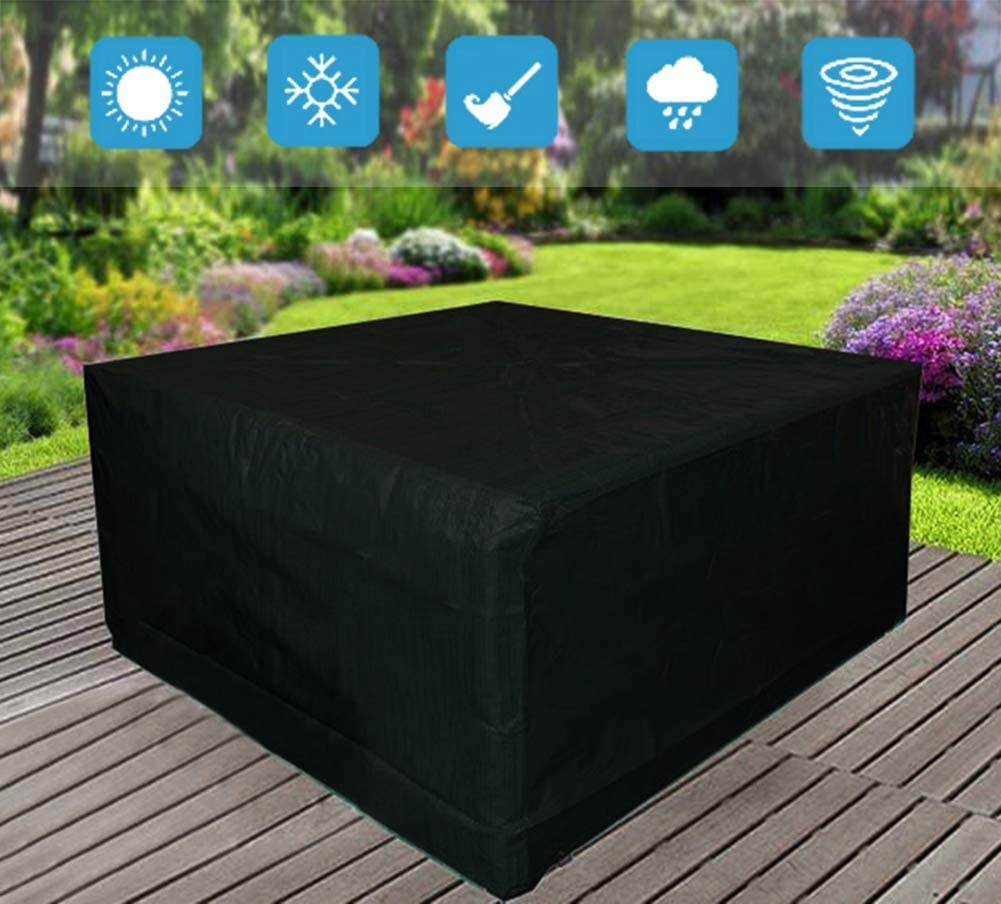AOBETAK Garden Furniture Covers Waterproof, 210D Oxford Outdoor Patio Cover with Anti-UV Coating Inside,125x125x74cm Square Cube for Rattan Wooden Tables Bench Seater Sofa chairs Protection