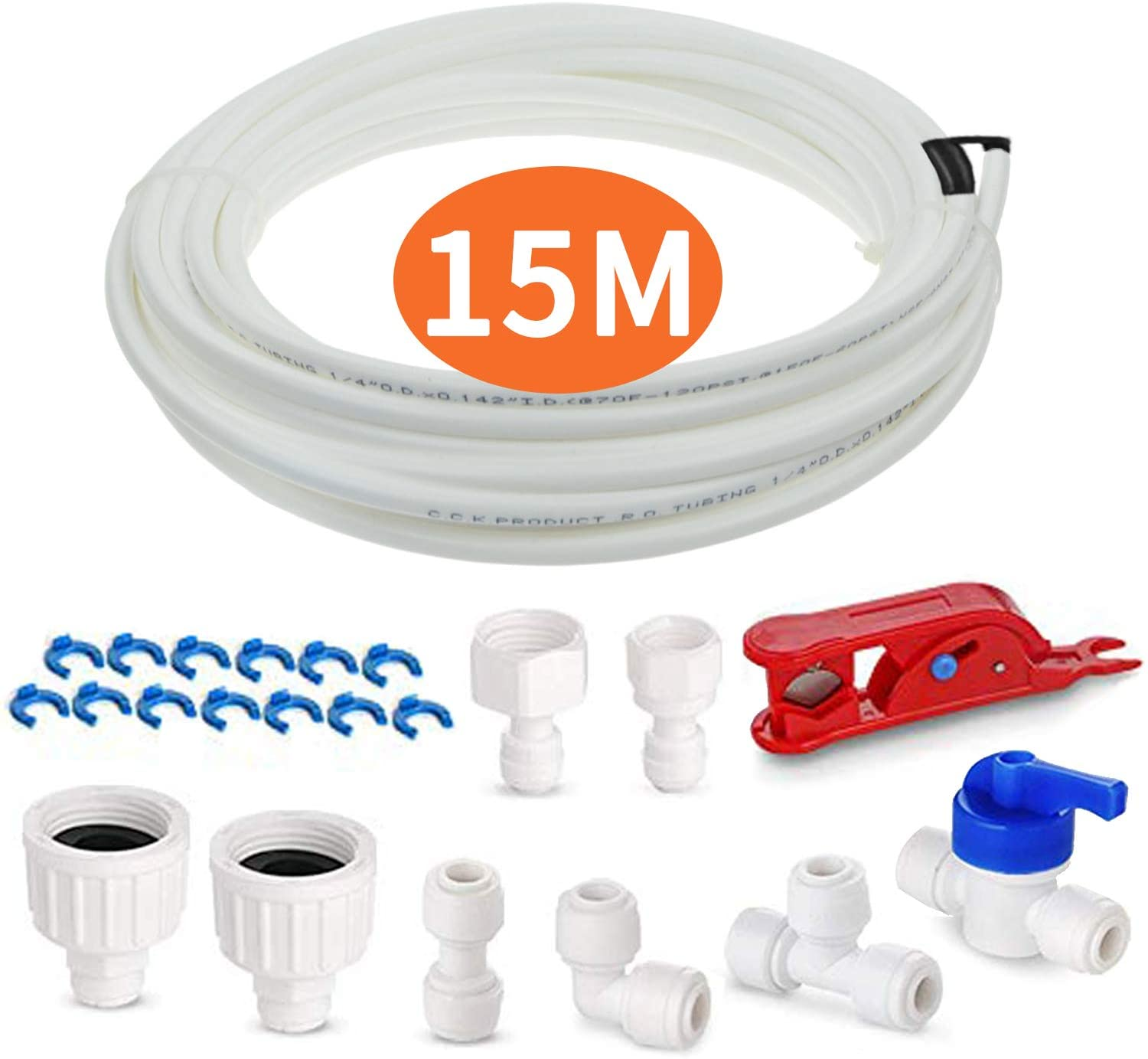 "Fridge Water Pipe Tube with Connector Fittings Kit, AOBETAK 15M Fridge Freezer Water Filter Plumbing Set For European and American Style Double Fridge Refrigerator (1/4"" Pipe)"