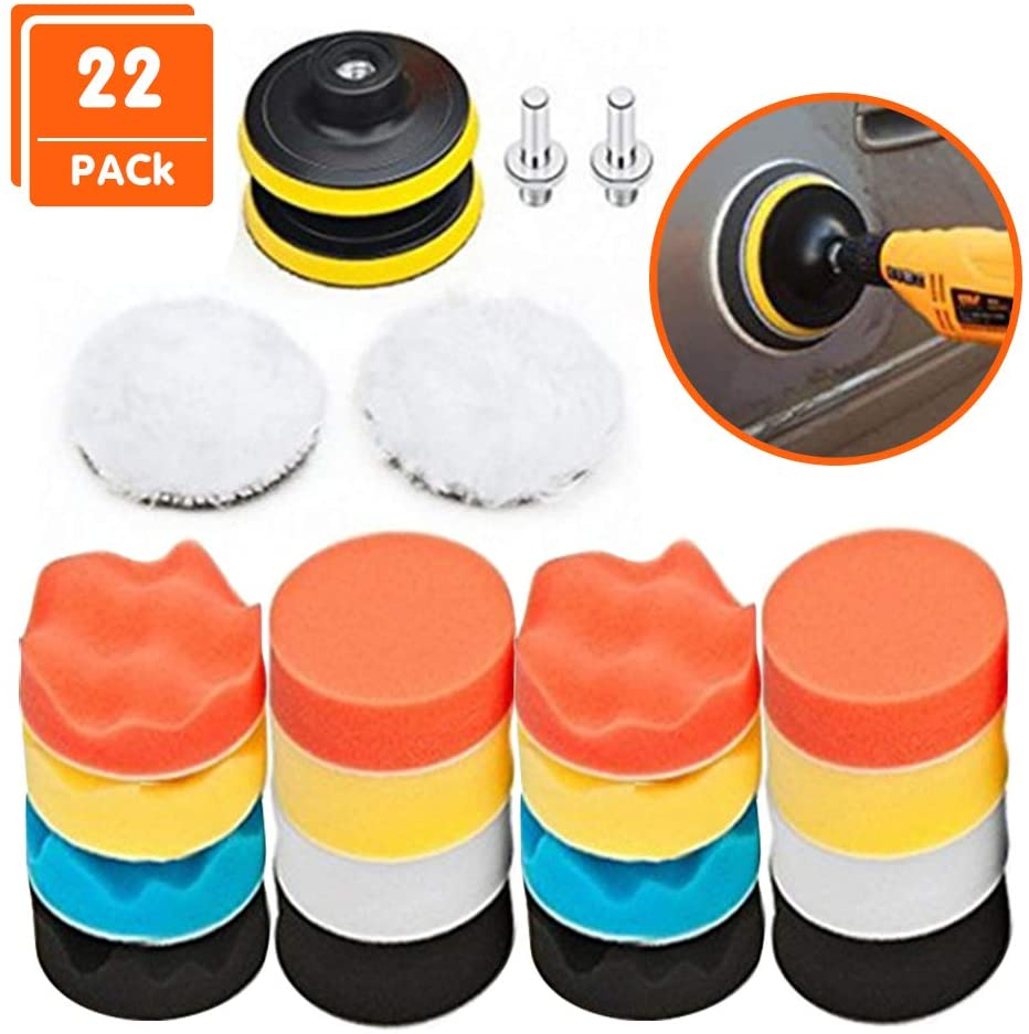 Polishing Pads for Drill, 22Pcs AOBETAK Car Buffers and Polishers Compound Sponge Drill Attachment Kit with M10 Adaptor,Buffing Pads for Car Furniture Polishing Waxing and Sealing Glaze