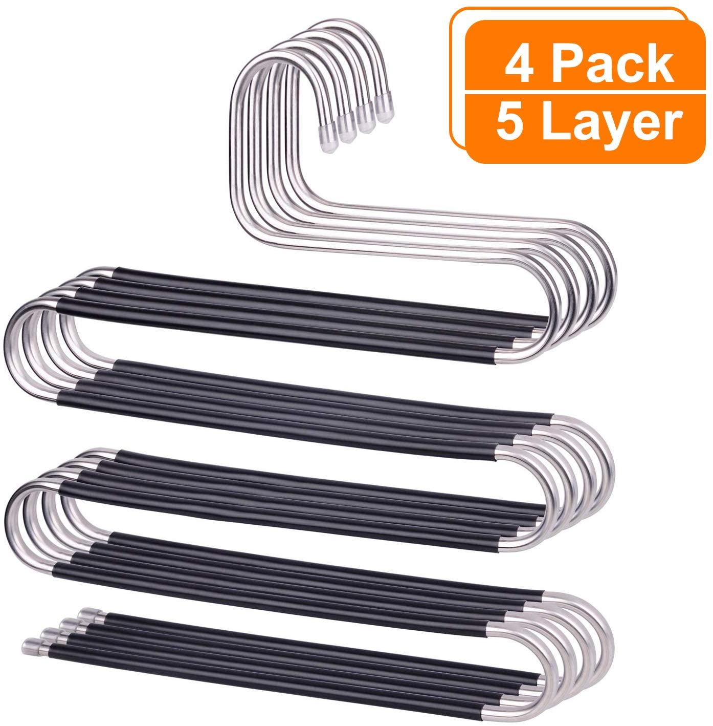 AOBETAK Trouser Hanger Space Saving, 4 Pack S-Type Stainless Steel Pants Jeans Scarf Rack, Non-Slip Heavy Duty Metal Coat Hanger for Mens Women Kids Trousers Scarfs Pant,5 Layers