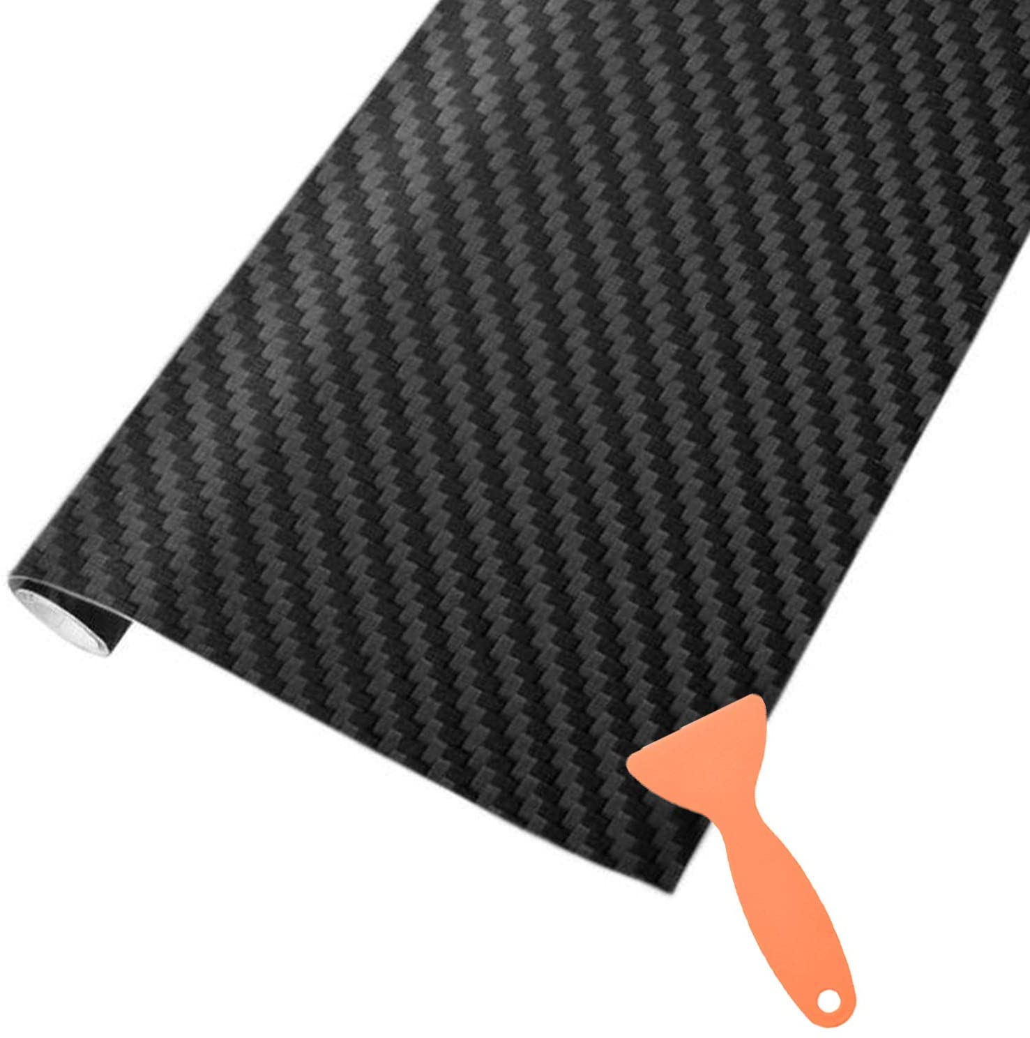 AOBETAK Carbon Fibre Vinyl Wrap Roll with Plastic Scrapers, 1500 x 300 mm Self-Adhesive Vinyl Sticker Tape for Cars Auto and Motorcycle DIY, Interior/Exterior, Textured 3d Effect, Matt Black