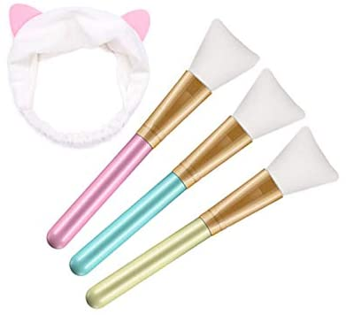 Face Mask Brush and Headband, AOBETAK Hairless Silicone Facial Mask Applicator Brushes Set,Cosmetic Makeup Scrapers for Applying Facial Mask, Eye Mask, Serum or DIY Needs