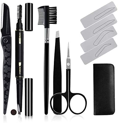 Eyebrow Grooming Kit for Beginners, AOBETAK 12PCS Eye Brow Set with PU leather case Include Eyebrow Pencil (Dark Brown), Razors, Grooming Brush, Scissor, Tweezers, Stencils for Women and Men