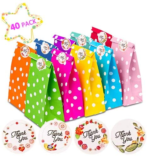 AOBETAK Paper Party Bags, 40 PCS Food Bags for Sweets with 48PCS Label Stickers, Flat Bottom Candy Bags for Sweet Cookie Gift, for Boys Girls Kids Chirstmas Birthday Wedding Party, 10 Colors Dots