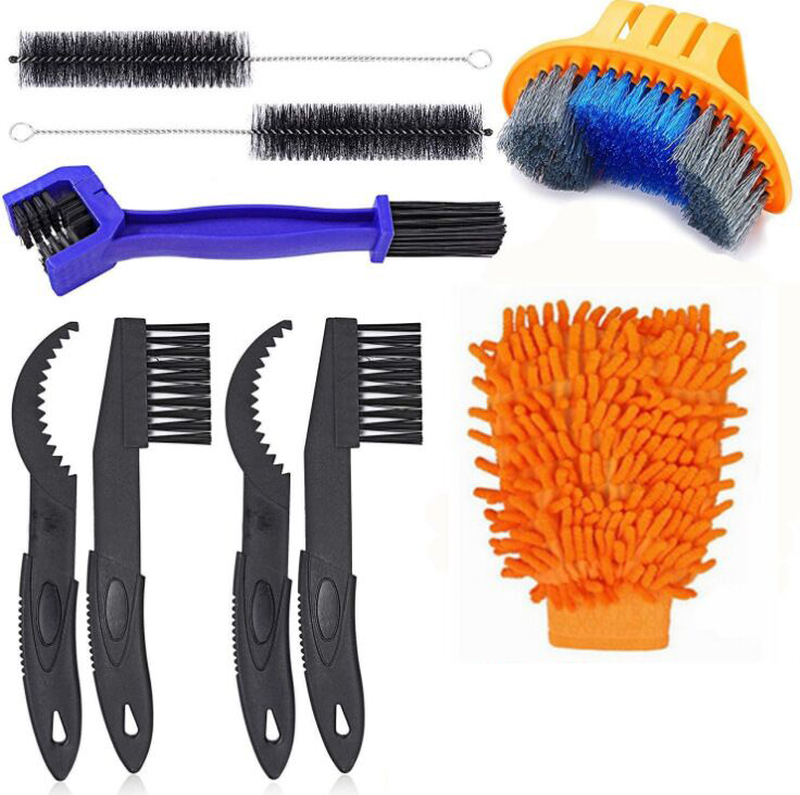 AOBETAK Bike Cleaning Brush Tool Kits AOBETAK 9 Pack Motorcycle Bike Chain Brushes Cleaner Set for Bike Chain/Tire/Sprocket Cycling Corner Stain Dirt Clean - Fit for MTB Mountain Road City Folding Bike