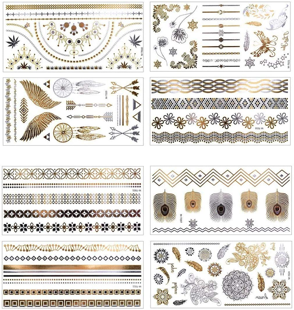8 Sheet Metallic Temporary Tattoo, AOBETAK Gold and Silver Waterproof Fake Jewellery Tattoos, Realistic Tribal Sticker for Women Men Kids Adults Teens Boys Girls