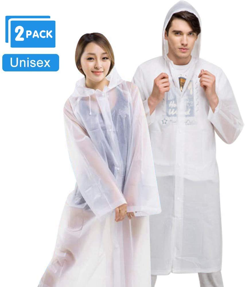 AOBETAK Rain Poncho Adult Portable, reusable clear raincoat with Hoods and Sleeves,EVA Material waterproof rain coat poncho for women men teens Travel Festival Theme Parks (EVA reusable)