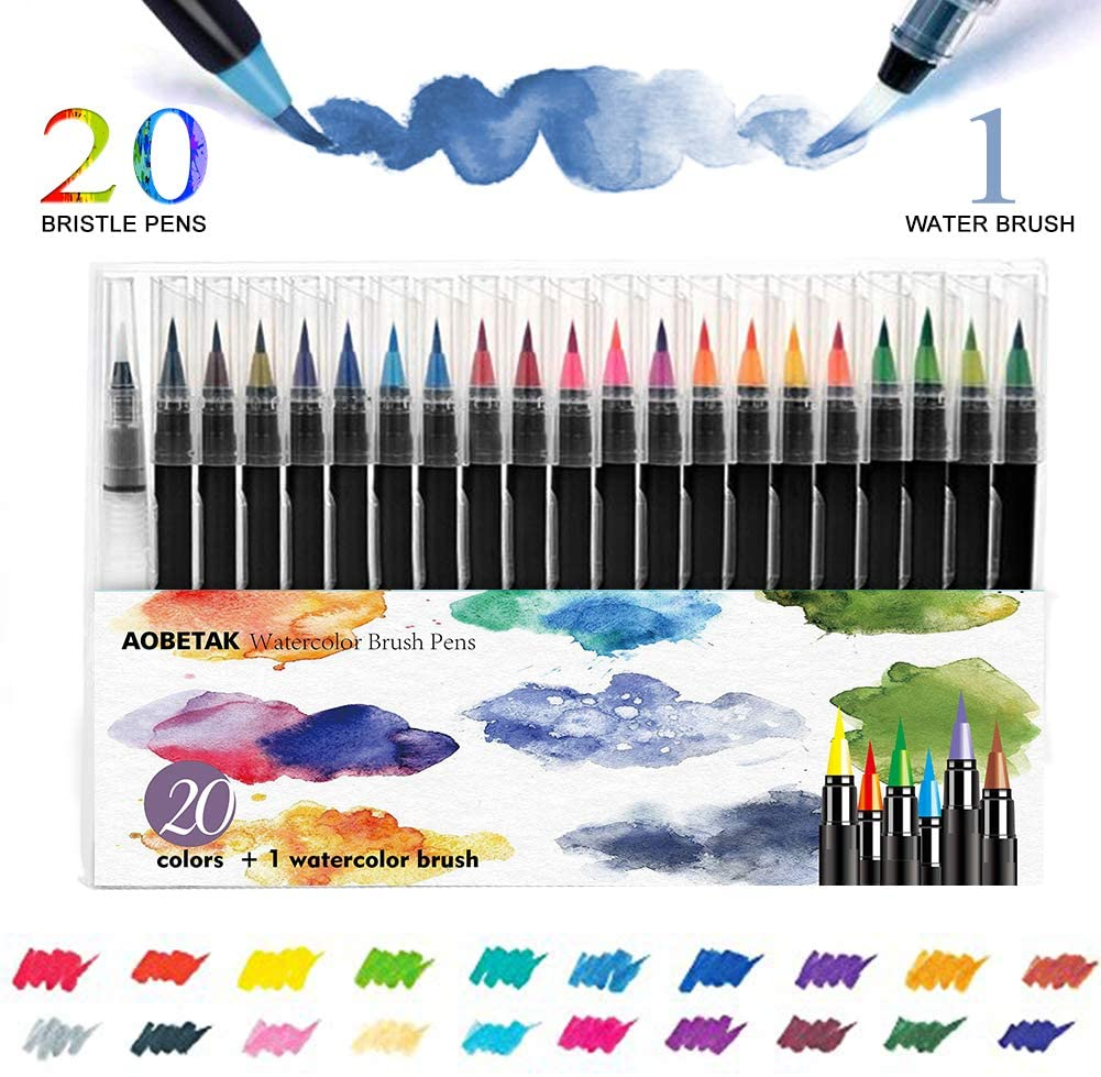 Watercolour Brush Pens Set,AOBETAK 20 Colouring Pens + 1 Water Brushes, Soft And Flexible Nylon Tip Calligraphy Water Colour Pen for Paint Book Beginners Artist Adults Kids