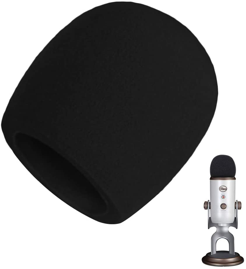 Mic Cover Foam,AOBETAK Large Microphone Pop Filter Foam Windshield for Blue Yeti, Yeti Pro Condenser Microphone, Black