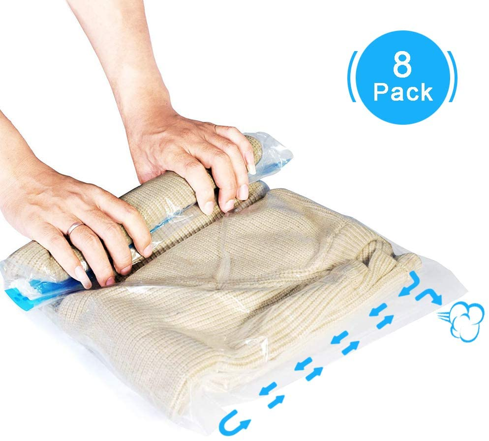 AOBETAK Travel Vacuum Storage Bags, 8 Pack Reusable Travelling Compression Bags Hand Roll Up,No Vacuum or Pump Needed - Double Zipper Sealer, 4 Medium + 4 Large for Clothes and Home Storage