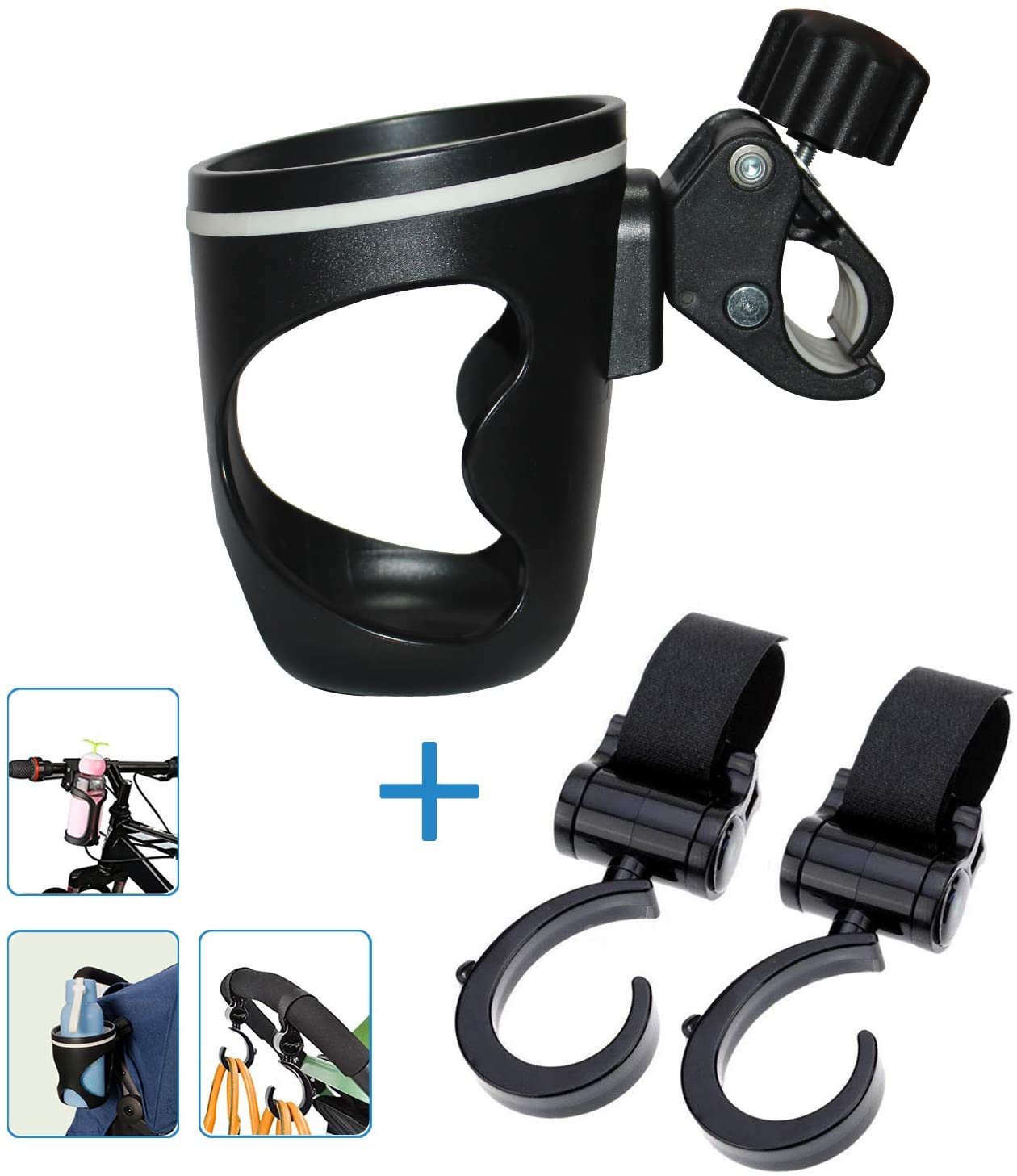 AOBETAK Pram cup holder, Water Bottle holder for pushchair with two clips hook, universal cup holder for wheelchair stroller bike Bicycle Moutainbike baby jogger coffee children prams, Black