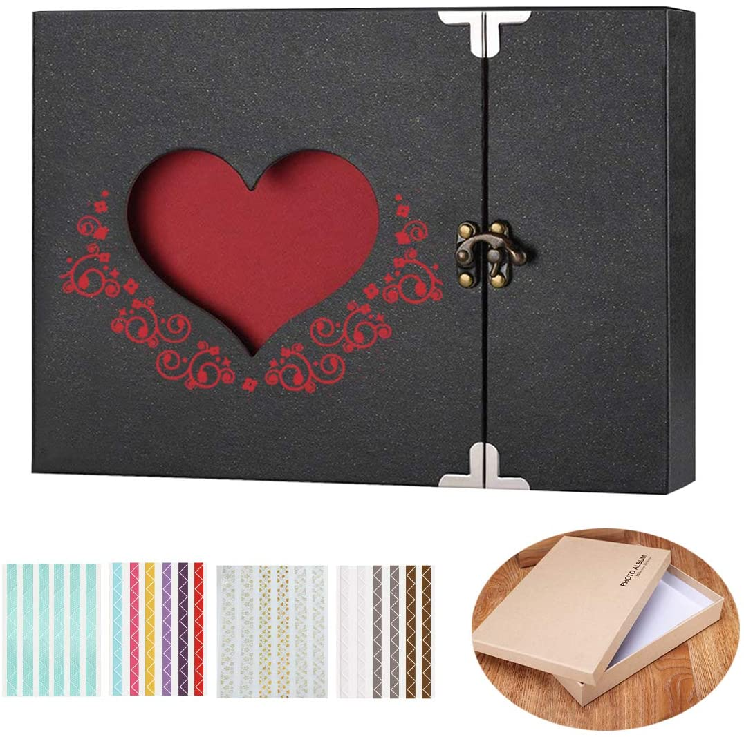 AOBETAK Photo Albums DIY Scrapbook Kit with 30 Black Pages and Accessorries, Large Vintage Memory Book Album,Present for Love Dad Baby Anniversary Valentine Idea for Boy Girl-friend,Gift Box Include